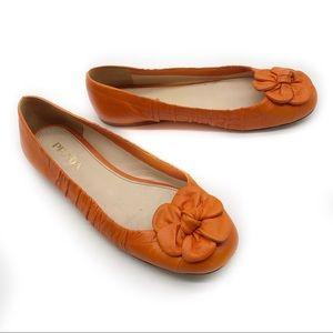PRADA Leather Orange Ballet Flats Flower Italy